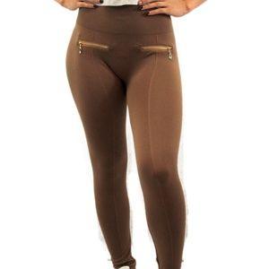 Women's High Waist Tan Leggings W/Fashion Zippers